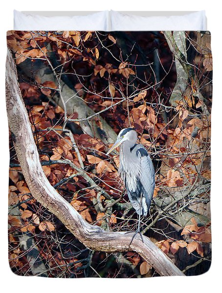 Blue Heron In Tree Duvet Cover