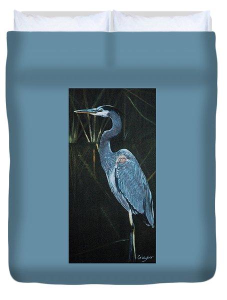 Blue Heron Duvet Cover by Jean Yves Crispo