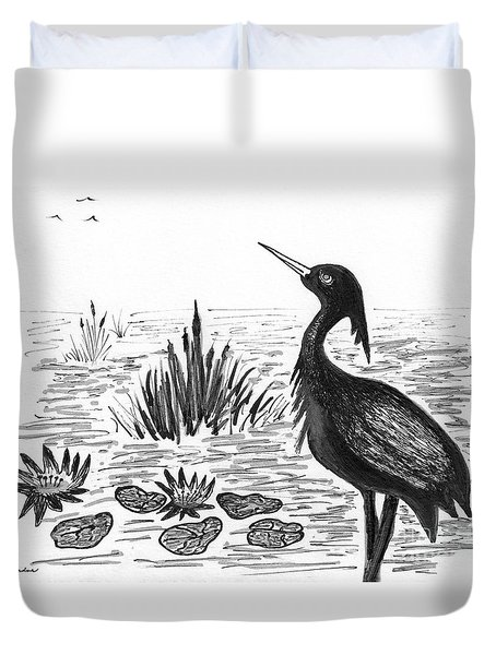 Crowned Night Heron Lily Pond Paradise In Ink D1 Duvet Cover