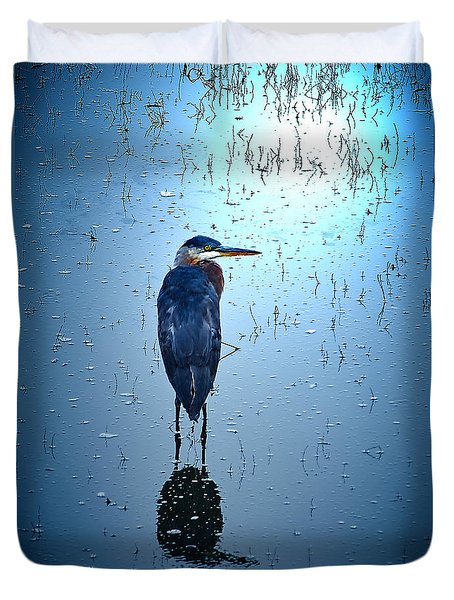 Blue Heron Duvet Cover by Loni Collins