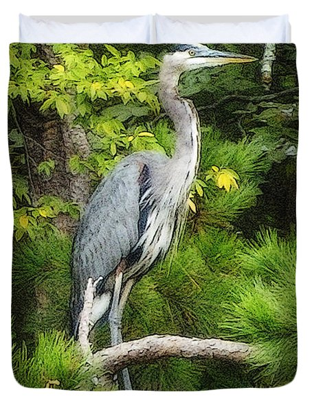 Blue Heron Duvet Cover by Lydia Holly