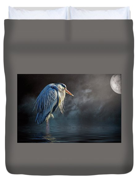 Blue Heron Moon Duvet Cover by Brian Tarr
