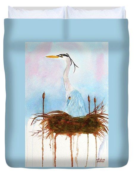 Blue Heron Nesting Duvet Cover