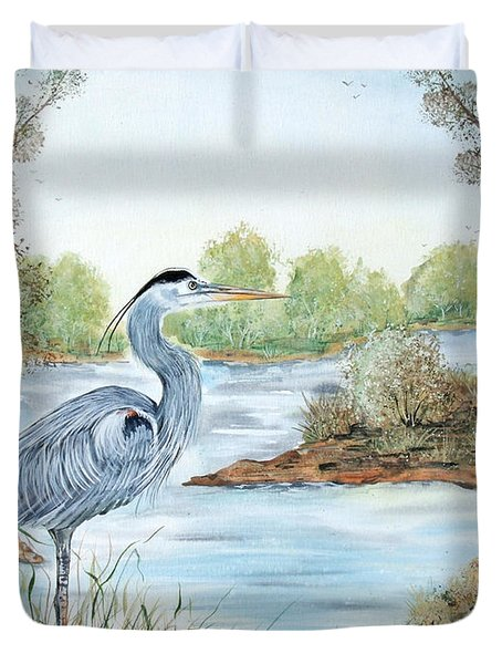 Blue Heron Of The Marshlands Duvet Cover
