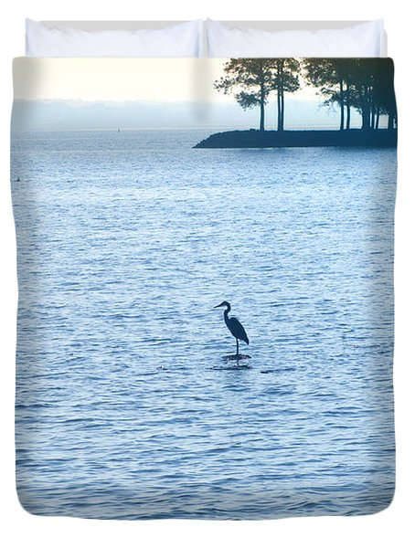 Blue Heron On The Chesapeake Duvet Cover by Bill Cannon