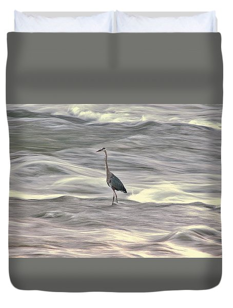 Blue Heron On The Grand River Duvet Cover