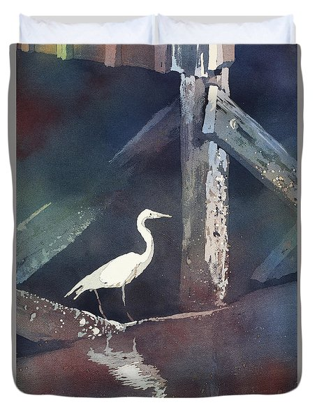 Duvet Cover featuring the painting Blue Heron- Outer Banks by Ryan Fox