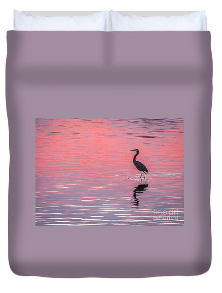 Duvet Cover featuring the photograph Blue Heron - Pink Water by Tom Claud