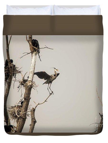 Duvet Cover featuring the photograph Blue Heron Posing by David Bearden