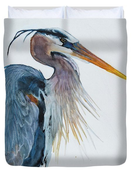 Duvet Cover featuring the mixed media Great Blue Heron by Jani Freimann
