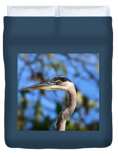 Blue Heron Profile Duvet Cover