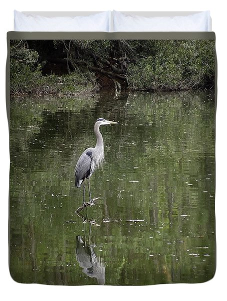 Blue Heron Reflection  Duvet Cover by Don Wright