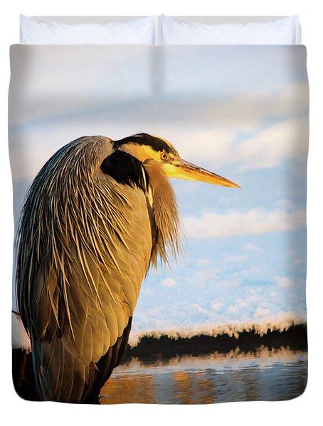 Blue Heron Resting Duvet Cover