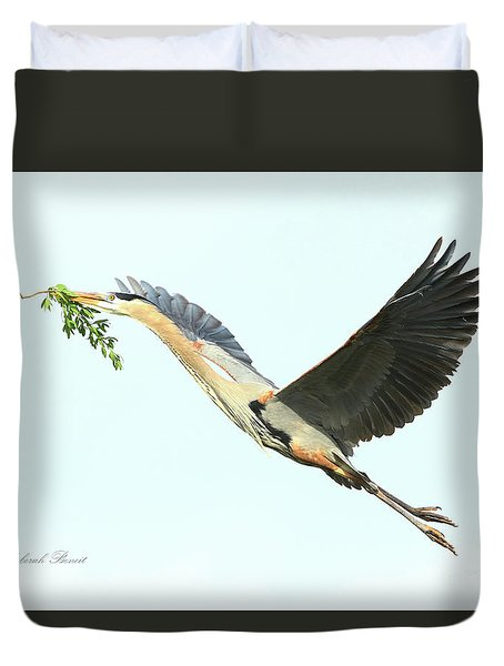 Blue Heron Series Twig 2017 Duvet Cover