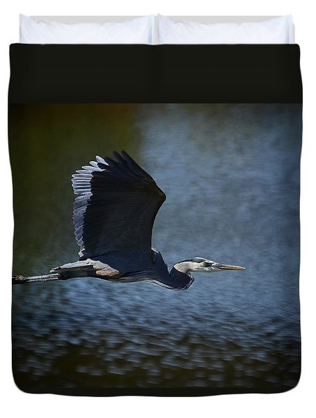 Blue Heron Skies  Duvet Cover by Saija  Lehtonen
