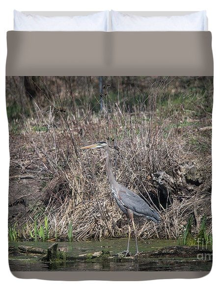 Duvet Cover featuring the photograph Blue Heron Stalking Dinner by David Bearden