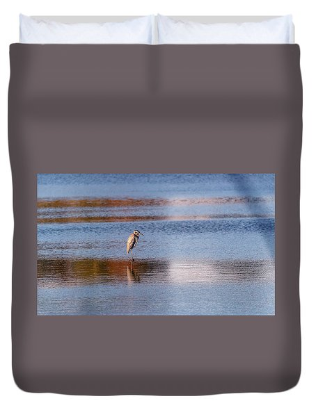 Blue Heron Standing In A Pond At Sunset Duvet Cover