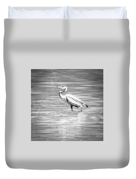 Duvet Cover featuring the photograph Blue Heron Strut by Wade Brooks