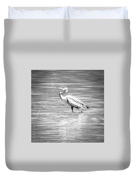 Blue Heron Strut Duvet Cover