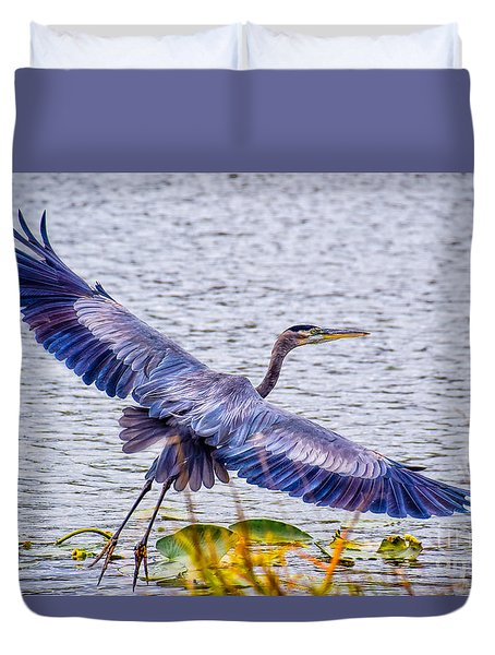 Blue Heron  Take Off  Duvet Cover by Peggy Franz