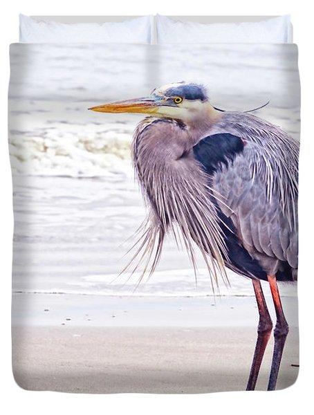 Blue Heron Watching Duvet Cover