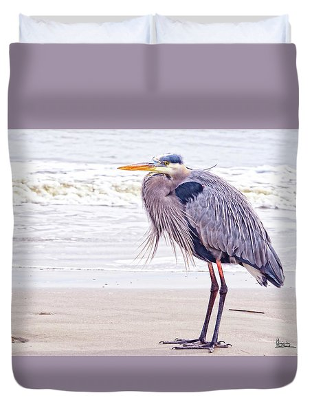 Blue Heron Watching Duvet Cover