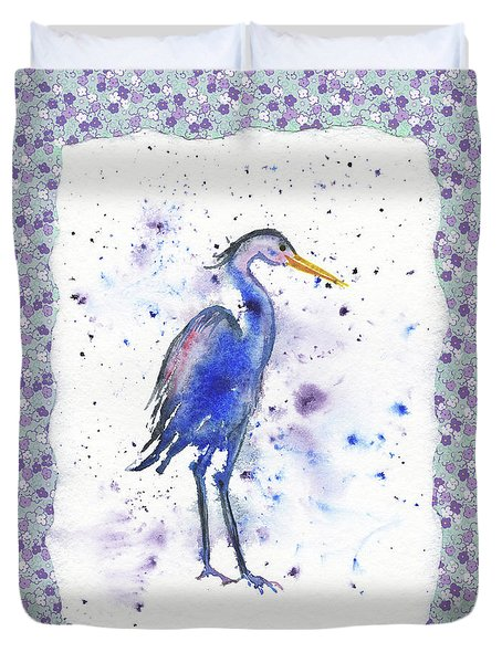 Duvet Cover featuring the painting Blue Heron Watercolor by Irina Sztukowski