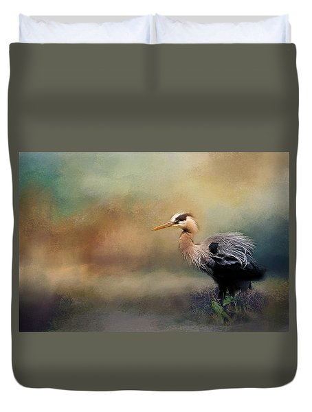 Duvet Cover featuring the photograph Blue Heron With Texture by Eleanor Abramson