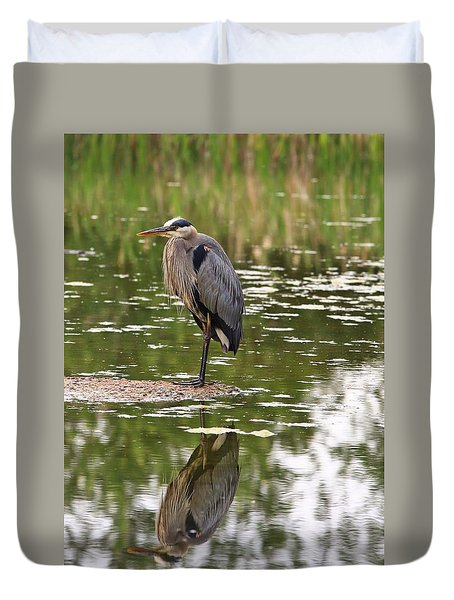 Duvet Cover featuring the photograph Blue Herons Reflection by Lynn Hopwood