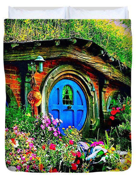 Duvet Cover featuring the photograph Blue Hobbit Door by Kathy Kelly