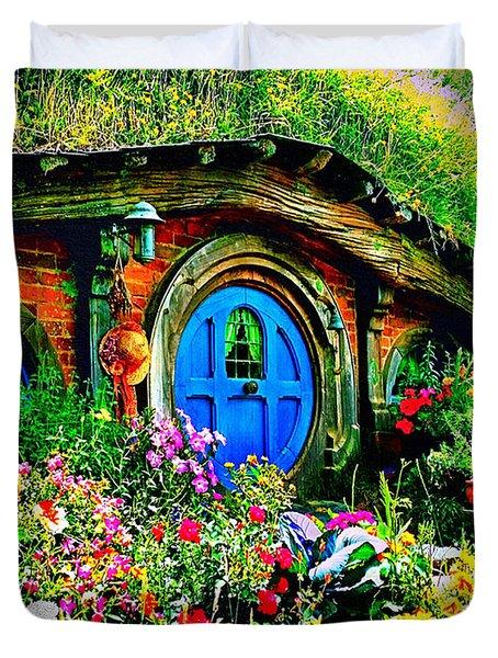 Blue Hobbit Door Duvet Cover