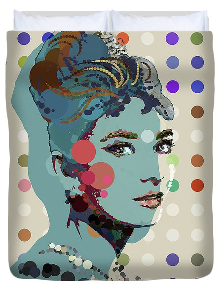 Blue Holly - Audrey Hepburn Spot Painting Duvet Cover by Big Fat Arts