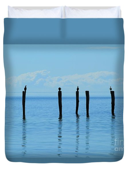 Duvet Cover featuring the photograph Blue Horizon by Stephen Mitchell
