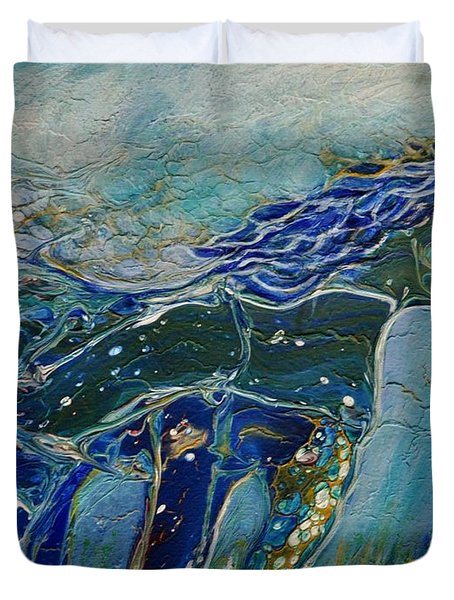 Duvet Cover featuring the painting Blue Horse by Deborah Nell