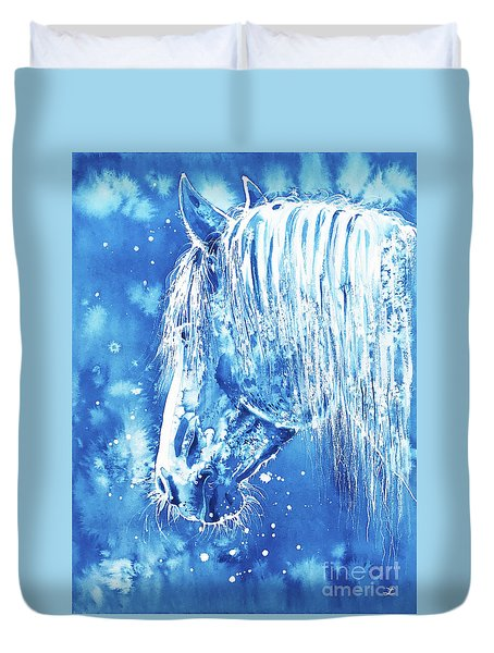 Duvet Cover featuring the painting Blue Horse by Zaira Dzhaubaeva