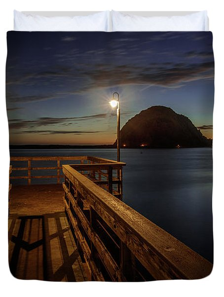 Blue Hour At Morro Bay Duvet Cover