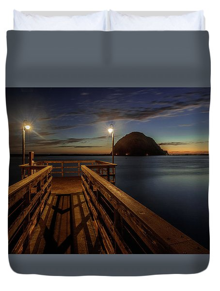 Blue Hour At Morro Bay Duvet Cover