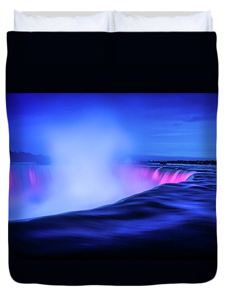 Blue Hour At Niagara Falls Duvet Cover