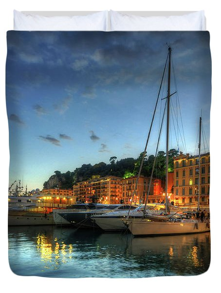 Duvet Cover featuring the photograph Blue Hour At Port Nice 2.0 by Yhun Suarez
