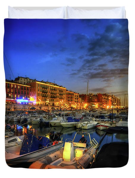 Duvet Cover featuring the photograph Blue Hour At Port Nice 1.0 by Yhun Suarez