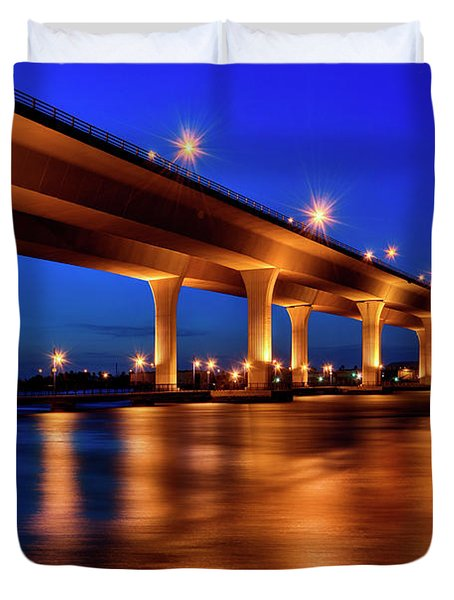 Blue Hour At Roosevelt Bridge In Stuart Florida  Duvet Cover