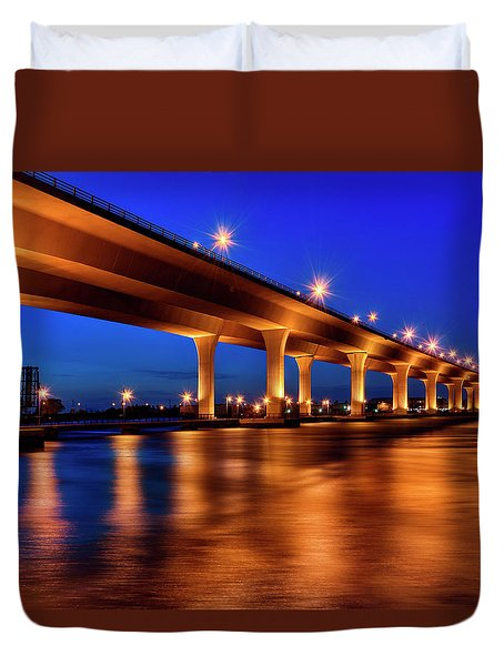 Duvet Cover featuring the photograph Blue Hour At Roosevelt Bridge In Stuart Florida  by Justin Kelefas