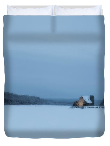 Blue Hour At The Old Stone Church Duvet Cover