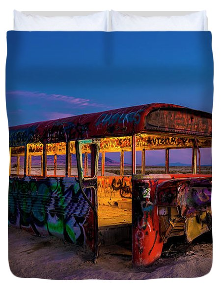 Blue Hour Bus Duvet Cover