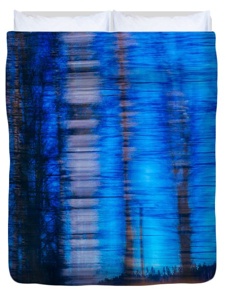 Blue Hour In Birch Forest Duvet Cover