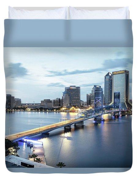 Blue Hour In Jacksonville Duvet Cover
