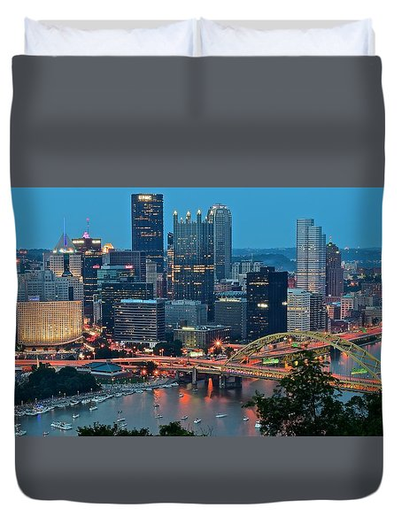 Blue Hour In Pittsburgh Duvet Cover by Frozen in Time Fine Art Photography