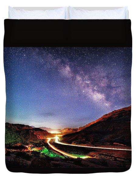 Blue Hour Milky Way Over Moab Duvet Cover