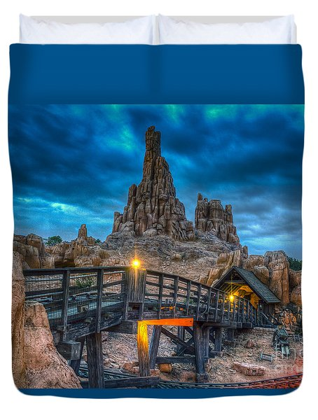 Blue Hour Over Big Thunder Mountain Duvet Cover