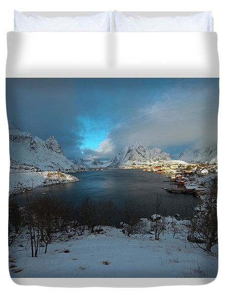 Duvet Cover featuring the photograph Blue Hour Over Reine by Dubi Roman